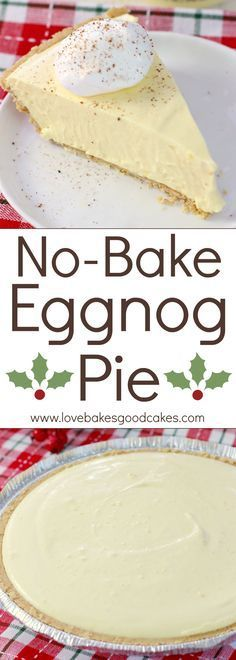 Could be made much healthier! Your holiday won't be complete without this No-Bake Eggnog Pie! It'll become a family-favorite! AD
