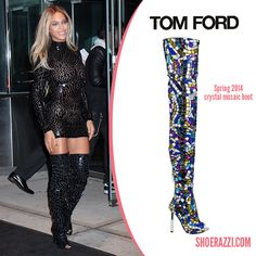 Beyoncé in Tom Ford Spring 2014 Crystal Mosaic Boots - ShoeRazzi