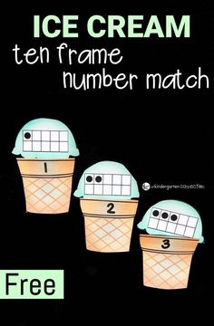 Use cupcakes and candles. This ice cream ten frame number match is so fun for preschoolers and kindergarteners to work on counting to 10 and subitizing! Teaching Numbers, Numbers Kindergarten, Kindergarten Centers, Math Numbers, Preschool Math, Math Classroom, Kindergarten Activities, Math Centers, Math For Kids