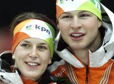 Ireen Wust en Sven Kramer 19 februari in Moskou. (AP Photo/Mikhail Metzel)