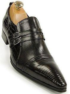 Mens Black Leather Reptile Design Buckle Slip On Dress Loafer Pointed Toe Shoe