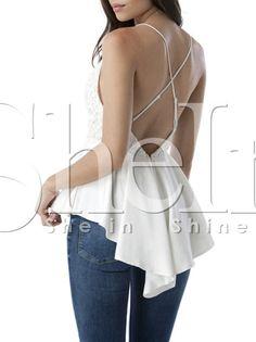 White Spaghetti Strap Backless Lace High Low Blouse-SheIn