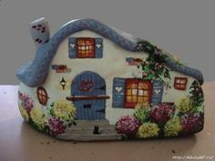 Painted cottage rock by Trisha Pebble Painting, Dot Painting, Pebble Art, Stone Painting, Painted Garden Rocks, Painted Rocks Craft, Hand Painted Rocks, Rock Painting Patterns, Rock Painting Ideas Easy