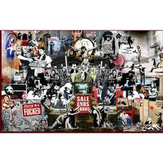 Banksy Collage Graffiti Spray Art Poster Urban Large Print... (200 CNY) ❤ liked on Polyvore featuring home, home decor, wall art, photo poster, photo wall art and paper wall art