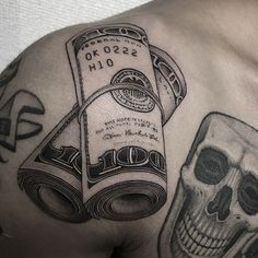 Awesome Money Themed Tattoos For Guys - Best Money Tattoos: Cool Money Bag, Dollar Sign, Cash Stack, and Monopoly Man Money Tattoo Designs and Ideas tattoo for men on leg 101 Best Money Tattoos For Men: Cool Designs + Ideas Guide) Daddy Tattoos, Hand Tattoos For Guys, Family Tattoos, Couple Tattoos, Small Tattoos, Mens Tattoos, Kritzelei Tattoo, Money Tattoo, Tattoo Fonts