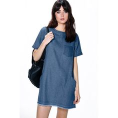 Boohoo Blue Lois Slouch Pocket Denim Dress ($40) ❤ liked on Polyvore featuring dresses, mid blue, cami dress, bodycon dress, sleeve cocktail dress, blue cami and day to night dresses