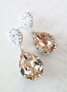Sandra - Swarovski Light Silk Crystal Teardrop Earrings