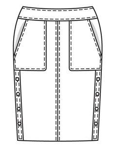 Юбка-карандаш - выкройка № 123 из журнала 10/2018 Burda – выкройки юбок на Burdastyle.ru Clothing Sketches, Fashion Sketches, Technical Drawing, Couture, Drawings, Skirts, Fashion Sketchbook, Sketches, Skirt
