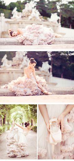 beautiful ballerina bride in blush pink
