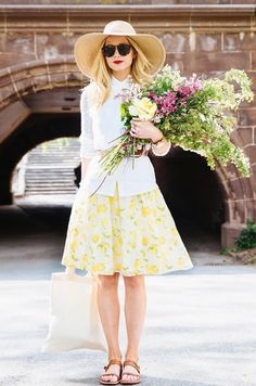 www.imdb.me/jessicasirls  flowers fashion skirt wide-brim hat  @Who What Wear - Class of 2014: Meet The Top Bloggers of the Year