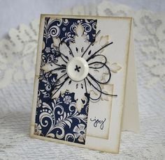 Shabby Navy & White Joy Card...with inked papers & button snowflake...Endless Inkabilities.