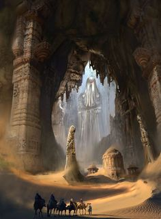 Cool desert fortress concept. I like this, but not the giant statues.
