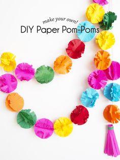 DIY Paper Pom-Poms | paperandpin.com