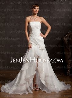 Wedding Dresses - $206.99 - Mermaid Strapless Asymmetrical Organza Wedding Dresses With Ruffle Lace Flower(s) (002015176) http://jenjenhouse.com/Mermaid-Strapless-Asymmetrical-Organza-Wedding-Dresses-With-Ruffle-Lace-Flower-S-002015176-g15176