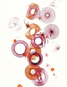spirograph red brown . watercolor illustration. print.. $10.00, via Etsy.
