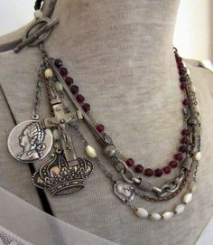 the queen's rosaries - vintage assemblage necklace with crown, cameos and mother of pearl rosary by the french circus. 193.00, via Etsy.