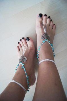 Bead Turquoise Gypsy Bohemian boho barefoot sandals, yoga, anklet hippie shoes, toe ring beaded foot jewelry
