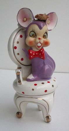 Vintage Arnart Creation Mouse Sitting on Chair Figurine with Red Bow tie (Japan)