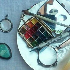 Watercolor collectors antique and vintage supplies for contemporary miniaturism.