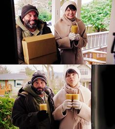 Mary Margaret (Snow White) and Leroy (Grumpy) trying to sell candles door to door.