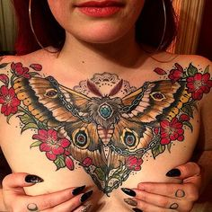 Back to Canada-land, and got this healed photo of another one-shot chest piece, done about a year ago on a lovely little champ @mothmiranda. #polyphemusmoth
