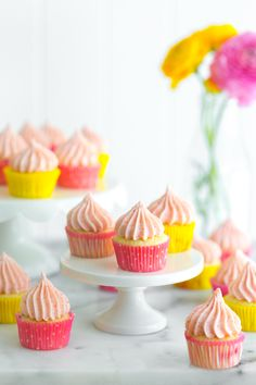 Mini Strawberry Lemon Cupcakes made with fresh, jammy strawberries & lemony mini cupcakes, topped with airy, soft pink strawberry cream cheese frosting.