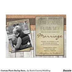 Custom Photo Burlap Barn Wood Wedding Invitations
