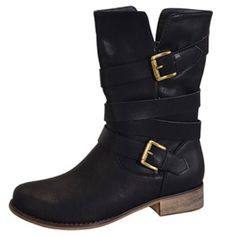 """✨Host Pick!!✨ NIB Mid-calf Buckle Boots Take it easy & in style wearing these faux leather boots that feature a wrapping buckle design. Lightly cushioned man-made footbed. Textured man-made sole. A low heel ensures easy steps, and an unobtrusive zipper creates slip-on-and-go convenience. Measurements: Heel Height: 1.4""""; Circumference: 13.4""""; and Shaft: 8.1"""". Other Sizes Available. Item #12031445 ✨PRICE IS FIRM✨ No Brand Shoes"""