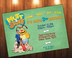 Mutt & Stuff, Mutt n Stuff, Calvin, Stuff, Dog Birthday Invite, Birthday Invitation, Birthday Party, Dog Party by AdrianMarieDesigns on Etsy