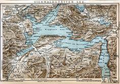 Old map Vierwaldstættersee