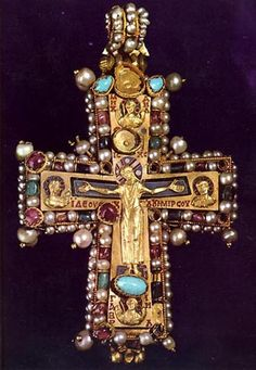 Pectoral cross from Martvili (8th - 9th cent) in gold repoussé (Christ) combined with enamel, prescious stones, and pearls.