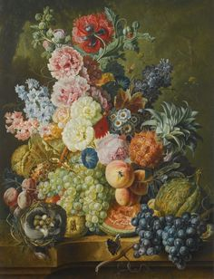 Paul Theodor van Brussel (1754-1795) - Still life with flowers, fruit, insects and a birds nest. Oil on panel, 80 x 60.6 cm. 1794.