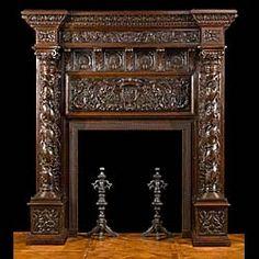 A tall antique Italian Renaissance oak fireplace mantel. Oak Mantel, Antique Fireplace Mantels, Fireplace Mantel Surrounds, Wooden Fireplace, Home Fireplace, Fireplace Design, Fireplaces, Antique Mantel, Mantles