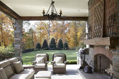Covered porch & large lawn