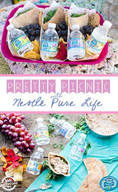 """With warmer weather just around the corner, it's the perfect time to start planning a fun, outdoor picnic. Enjoy family time in the great outdoors, with this easy picnic setup complete with blankets, décor, healthy snacks and the new NESTLÉ® PURE LIFE® 8oz """"Share-a-Smile™"""" Kid Designed Edition water bottles as the perfect healthy hydration option for the entire family. Check out the pretty picnic how-to on Kids Activities Blog!"""