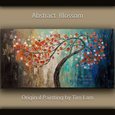 "Acrylic painting Palette knife texture 48"" Copper leave landscape art by Tim Lam 48x24. $338.00, via Etsy."