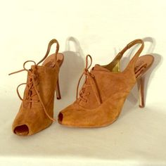 Guess by Marciano brown suede heels Guess by Marciano caramel suede slingback Peep toe heels with front tie excellent condition very savvy design in excellent condition no damage heel height of 5 inches Guess by Marciano Shoes Heels