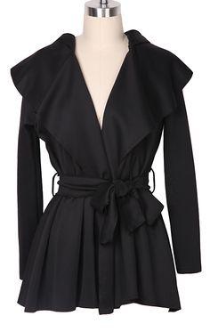Abrigo cruzado con capucha con cinturón-Negro EUR€23.50