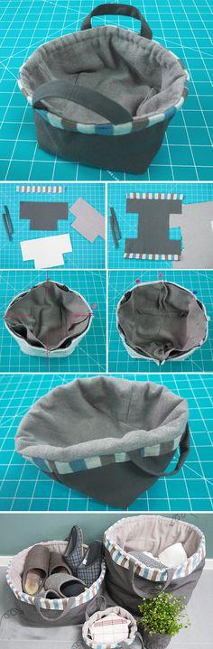 BAG » Simple Fabric Basket DIY  http://www.free-tutorial.net/2016/12/simple-fabric-basket-diy.html