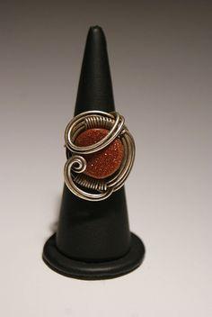 Goldstone ring wire wrapped jewelry handmade by BeyhanAkman, $19.00