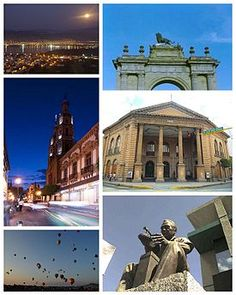 León De arriba a abajo de izquierda a derecha: Parque Metropolitano de León, Arco de la calzada, Catedral de León, Teatro doblado, Festival internacional del globo y Monumento a la industria del calzado.