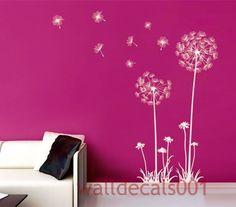 Dandelions Wall Decal Wall sticker Nursery Decal, flower decal, Baby decal,kids decal,Girl room decor wall Art 60