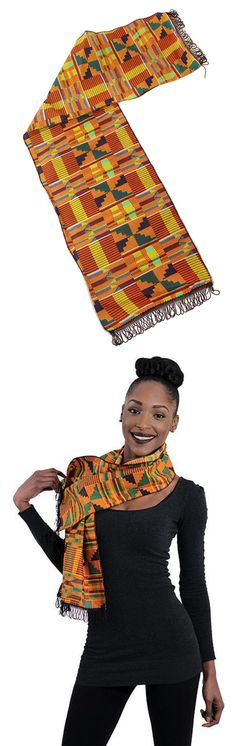 Women's African Kente Scarf - Beautiful African style kente scarf in orange, red, black, green, and yellow.  Bright and colorful scarf perfect for celebrating Black History Month.  Get them as gifts for the whole family or for an African themed wedding.  Beautiful bright kente fabric is perfect as a sash or a scarf.  #africa #african #kente #scarf #womensfashion #womensstyle #style #stylish #fashion