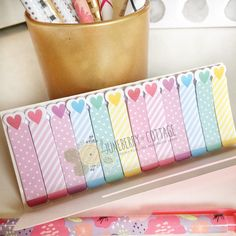 Hearts Slim Page Flags, Mini Page Flags, Cute Page Flags, Bookmarks, Stripe Page Flags, Pastel, School Supplies, Sticky Notes, Post It Notes