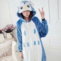 Adult Unisex Pajamas Pajamas Animal Pijama Mujer Invierno Adult Owl Full Sleeve Hooded Pajama Sets Pijama Animal Cartoon Pajamas