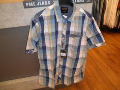 PME geblokte blouse blauw/beige