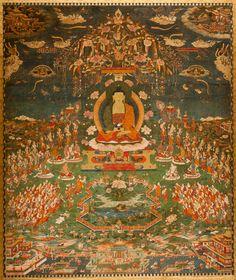 'Amitabha in Sukhavati Paradise', Tibetan, circa 1700, San Antonio Museum of Art - Buddhānusmṛti - Wikipedia, the free encyclopedia
