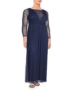 Marina, Plus Size Embellished Long Sleeve Gown - Navy - Size