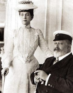 King Edward VII and Queen Alaxandra at Cowes, Isle of Wight - UK - 1907
