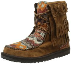 Muk Luks Women's Tanya Short Fringe Tie Boot, can't find these, but I like em
